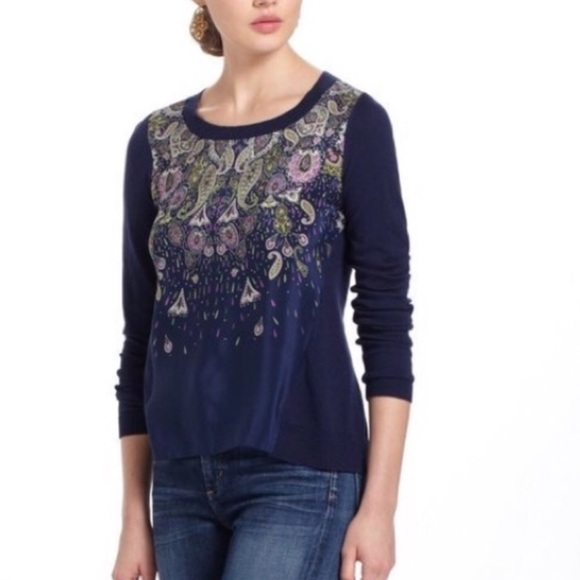 Anthropologie Tops - Anthropology l Moth Paisley Mixed Media Sweater XS